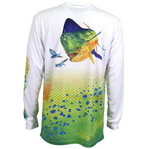 Guy Harvey Dorado Pro UVX Performance Long Sleeve Shirt Größe L weiß (Guy Harvey-t-shirt)