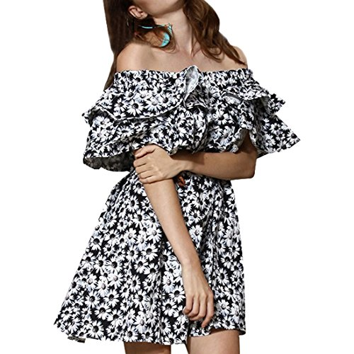 Suessen Frauen Daisy Printed Flouncing weg Schulter Boot Ausschnitt Taille kurzes Kleid Daisy Druck