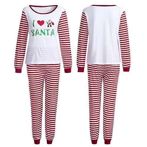 (Honestyi Frauen Familie PJS passende Weihnachten Pyjama Set Bluse + Santa gestreiften Hosen(Rot,S))