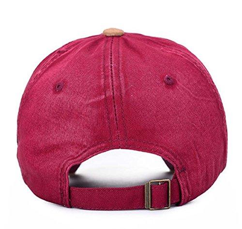 Style Vintage vieilli Casquette Snapback Casquette Chapeau Rouge - Bordeaux