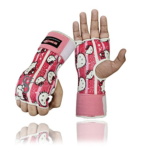 Be Smart Box-Handschuhe, Gel gepolstert, Innenhand-Wickel, MMA, UFC, Herren damen Kinder, hello kitty, M (Ufc Gel Wrap)