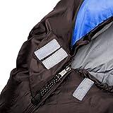 Klarfit Gullfoss Schlafsack (1,5 kg, Mumienschlafsack, 230 x 80 cm, 2-lagig, Kunstfaser, 2-Wege-Reißverschluss, bis -5 °C) blau -