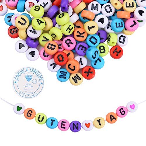 EKKONG 1200 piezas acrílico letras del alfabeto A-Z,Cuentas Abalorios y 1 hilo de seda para hacer joyas para niños DIY collar pulsera (multicolor)