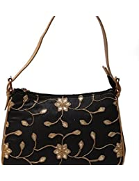 The 'Noir Luxury' Ladies Purse | Designer Black Silk Handbag With Trendy Floral Print For Women | Trendy Ladies...