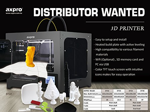 AXPRO 3D printer D-722, office 3D Printer, Assembled 3D PRINTER, Metal Frame 3d printer, large printing size up to 26x22x20 cm. 1 years warranty - 2