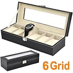 SODIAL(R) Faux Leather 6 Grid Watch Display Box Case Black Storage Organizer