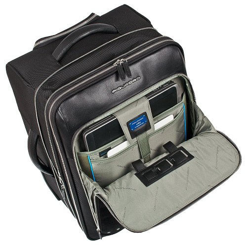 Piquadro  Laptop Rollkoffer, 53 cm, 48 L, Schwarz Schwarz