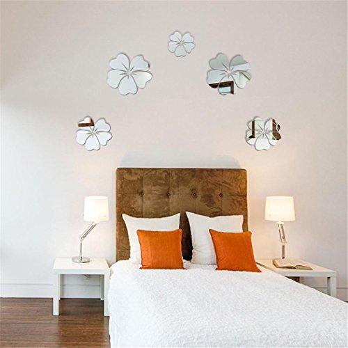 Pegatina de pared vinilo adhesivo decorativo para cuartos,Nuevo estilo de espejo flores extraíbles...