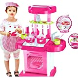 ND TOYS Battery Operated Kitchen Play Set For Kids With Roll Play Kitchen Set Carry Case, With Led Lights & Sound (Multi Color)
