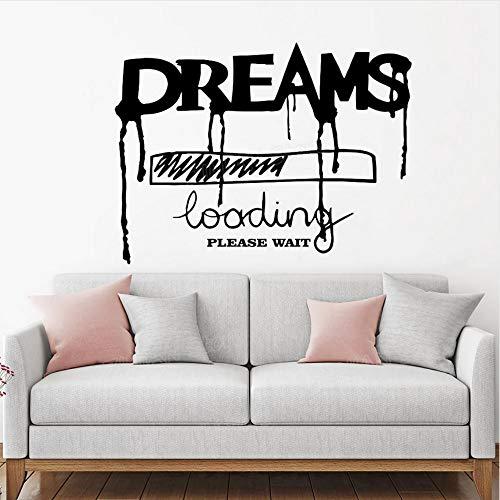 Träume Laden Inschrift Wörter Vinyl Wandaufkleber Ausgangsdekor Wohnzimmer Kreative Wandtattoo Zitat für Schlafzimmer 74x56 cm