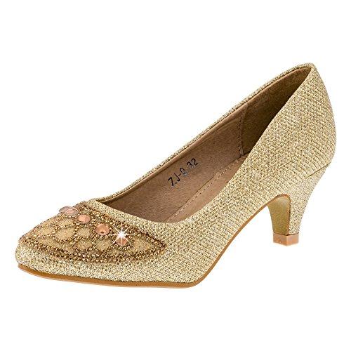 Festlich schöne Mädchen Schuhe in 4 Farben #135go Gold