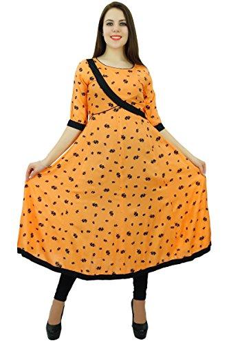 Phagun Impression Femmes Coton Kurta Ethnique Manches 3/4 Robe Concepteur Anarkali De Kurti Sombre Peach et noir
