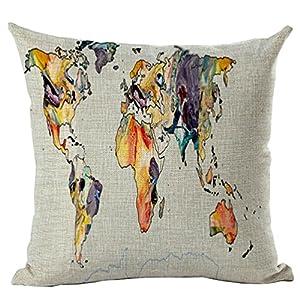 zebrasmile mapa impresión Digital fundas de cojín Lino y algodón funda de almohada sofá almohada Funda de almohada para coche silla seatback casa sofá 17x 17pulgadas