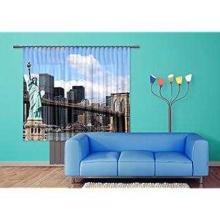 AG Design Freiheitsstatue New York Gardine/Vorhang Stoff Mehrfarbig 0, 1 x 180 x 160 cm 2