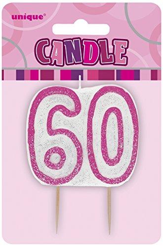 Unique Party- Vela de 60 cumpleaños, Color rosa brillante (34406)