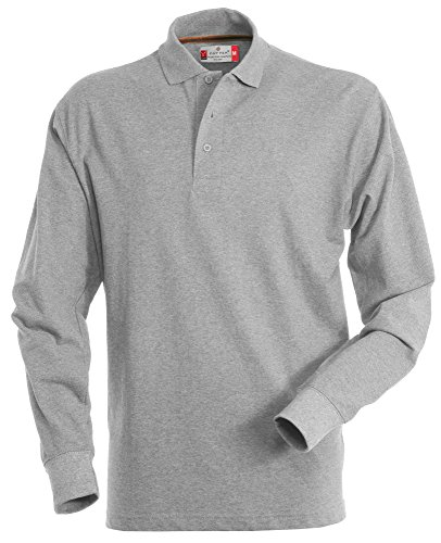 Herren Langarm Polohemd Baumwoll Piquet Hockey grey-heather M (Polo Shirt Baumwolle Herren)