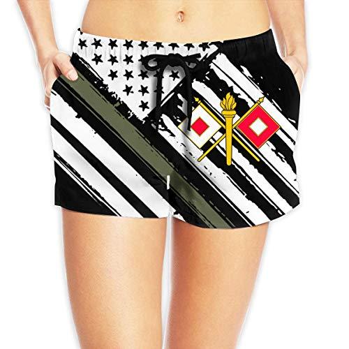 vbndfghjd US Army Signal Corps Women's Swim Trunks Quick Dry Beach Board Shorts Funny Novelty XXL