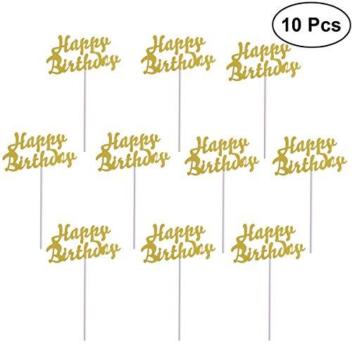 Rosenice Cupcake-Topper mit Aufschrift Happy Birthday für Geburtstagskuchen, vergoldet, 10 Stück