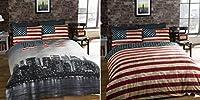 Veuillez noter, toutes les tailles sont approximatives. Rafraîchir votre literie avec cette parure de lit inspiré de la ville de New York. Cette housse de couette est réversible, offrant deux options de design: Horizon de New York ou USA drapeau éto...