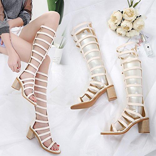 GTVERNH-albicocca appartamento sandali croce con quelle estive alto tubo spesso con stivali fighi solido cerniera scarpe con i tacchi alti,36 Forty-one