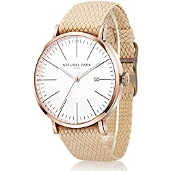 Unisex Dress Rose Gold Watches with White Dial Date Beige Nylon Strap