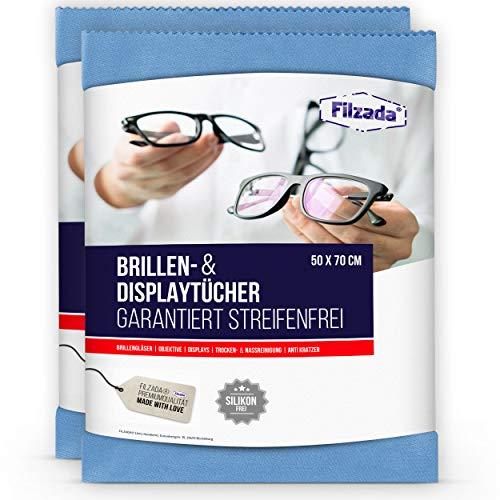 Filzada® 2x Brillenputztuch Microfaser in Optikerqualität - Extra groß in 50 x 70 cm - Reinigt Fussel- und Streifenfrei - Auch perfekt für Kameras, Objektive, Monitore, TV, Bildschirme, Laptops