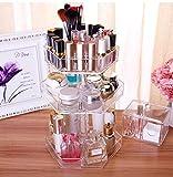 étui cosmétique 360 ° rotatif Boîte de rangement de table Maquillage Bijoux Affichage étagère Cosmétique réglable Case Transparent Acrylique ( Couleur : Blanc )