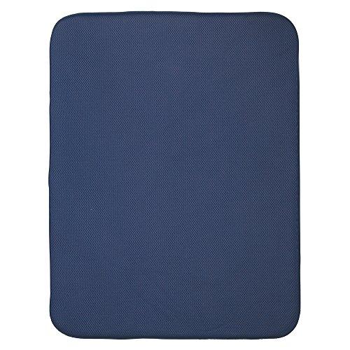 InterDesign iDry Tapete de Cocina, Alfombrilla escurreplatos Extragrande y Gruesa de poliéster y Microfibra para un Secado rápido, Azul Marino/Blanco