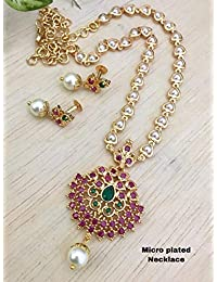 Adc fashions Pearl Jewellery Set for Women, 18inch Length, Small Simple Neck Chain with Multi Color pendent