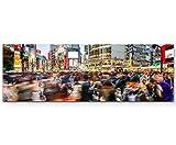 Menschen in Tokyo – Kreuzung - Panoramabild auf Leinwand in 120x40cm