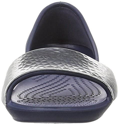 Crocs 204361, Ballerine Aperte Donna Blu (Navy/Silver)