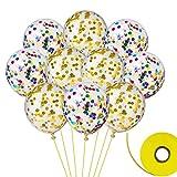 FEPITO 20 pezzi di palloncini di coriandoli con nastro per decorazioni di compleanno per la festa di compleanno 12 pollici