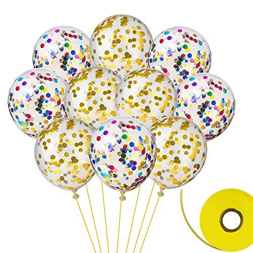 FEPITO 20 Piezas Globos de Confeti con Cinta para Decoraciones de la Fiesta de cumpleaños de la Boda 12 Pulgadas