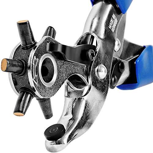 S&R Profi OVALE Revolverlochzange/MADE IN GERMANY/mit Hebel-Übersetzung und 6 LANG und QUER auswechselbaren OVALEN Lochpfeifen: 5,7 x 3,8 mm, 4,6 x 3,0 mm, 6,3 x 3,5 mm Lochzange Oval Stanzzange