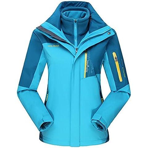 WE&ZHEDe hombres y mujeres chaquetas de Shell suaves 3 en 1 dos piezas desmontable impermeable al viento caliente gran tamaño pueden ser usado solo chaqueta de esquí de montaña multifunción , 2# , xl