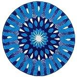 Grund Badteppich 100% Polyacryl, ultra soft, rutschfest, ÖKO-TEX-zertifiziert, 5 Jahre Garantie, EINSICHT, Badematte 60 cm rund, blau