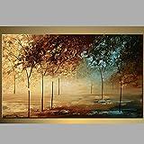 Hochwertiger handbemalt Landschaftsmalerei Dick Messer Ölgemälde Ölgemälde Magic Nebel Forest House Wand Wohnzimmer Artwork, canvas, 32x64inch(80x160cm)