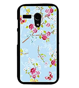 PrintDhaba Flowers and Butterfly D-1156 Back Case Cover for MOTOROLA MOTO G (Multi-Coloured)
