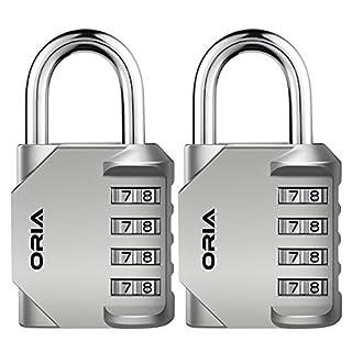 Oria 2 Pack Combination Lock, 4 Digit Padlocks, Resettable Security Locks, Anti Rust and Waterproof for School, Employee, Gym & Sports Locker, Toolbox, Filing Cabinets etc.- Silver