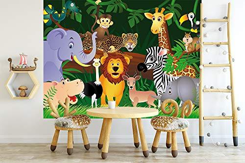 Vlies Fototapete - Kindertapete Wilde Tiere im Dschungel - Cartoon - 300x230 cm - mit Kleister – Poster – Foto auf Tapete – Wandbild – Wandtapete – Vliestapete