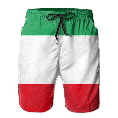 New Men's Flag of Italy Leisure Ultra-Light Sandy Beach Pants Board Shorts with Telescopic Tape Medium Jordan Mens Classic Fleece