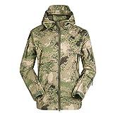 y_hm Herren Kampfjacke Wasserdichte Softshell Fleecejacke mit Camouflage Softshelljacke Herren Fleecejacke Wind und Regen, 8, l