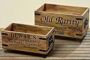 Lot de 2 caisses de scotch whisky cory en bois de style vintage marron/noir pour hommes décoration de style industriel whiskykiste whiskeybox