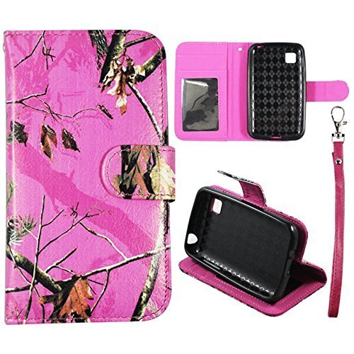 Flip Wallet Kreditkarte Halter Pink Camo Mozzy RT 2Für LG Optimus Dynamic 2II L39C Verizon TracFone PU PU (Poly) Synthetisches Leder Tasche mit ID Slot Fall Cover Snap On Cover Case (Pink Camo Mozzy RT 2)