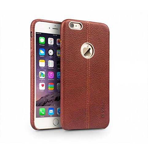 SGC Vorson ® Apple iPhone 6 Plus/ 6S Plus Lexza Series Double Stitch Leather Shell with Metallic Logo Display Back Cover - Brown