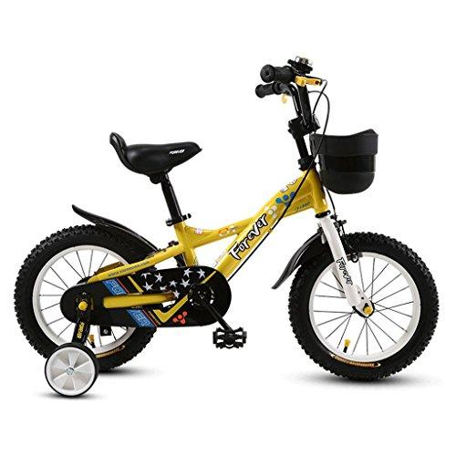 Unbekannt Great Kinder Fahrrad Kinderwagen 2-12 Jahre alt Mädchen Radfahren Boy Fahrrad (Energy A++) (Farbe : Gelb, größe : 14 inches)