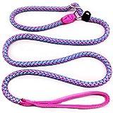 Mycicy Reflektierende Seilleine, 1,5 m Basic Dog Training Leine Hochleistungs-Outdoor-Haustier-Leine Geflochten für Mittlere und Große Hunde (12mm Pink)
