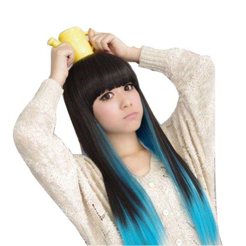etruke Anime Cheveux Synthétiques Long Style Droit Bleu Noir Cosplay Perruques