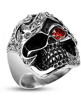 Mianova Herren Edelstahl Biker Ring Farbe Silber XXL Totenkopf Pirat mit Kristall Auge