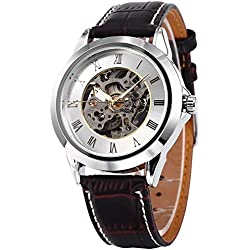 AMPM24 Roman White Dial Mens Skeleton Automatic Mechanical Brown Leather Wrist Watch + AMPM24 Gift Box PMW126